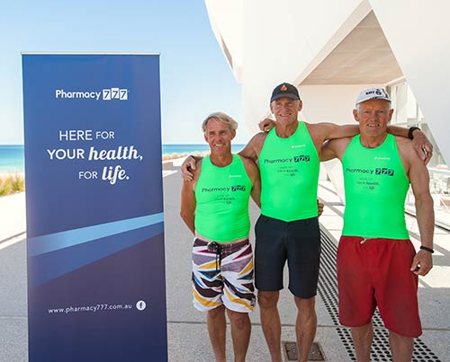 3 George Bass participants from the City of Perth Surf Life Saving Club - Geoff Wilson, John Leivers and Peter Waey.  (Geoff is in black cap, John in white cap and Peter no cap)